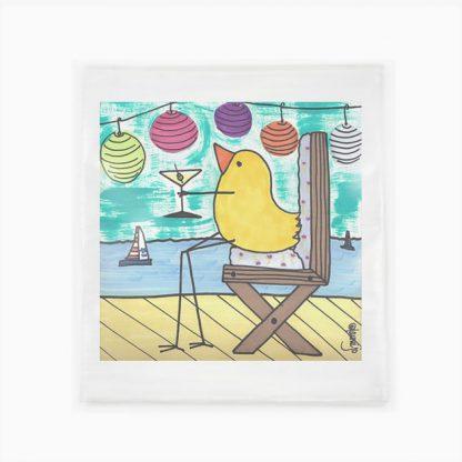 Flour Sack Towel - Bird With Martini