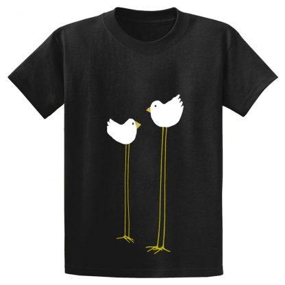 UniSex-SS-Tee-black-long-legged-birds
