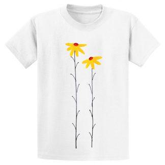 UniSex-SS-Tee-white-daisies-yellow
