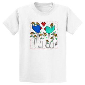 UniSex-SS-Tee-white-love-birds-flowers