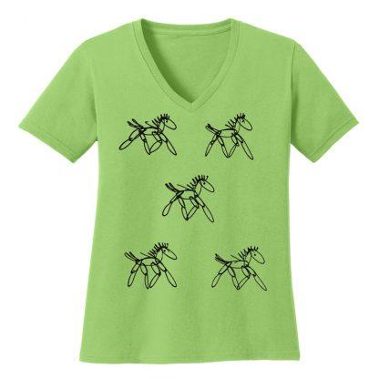 V-Neck-Tee-lime-running-horsesB