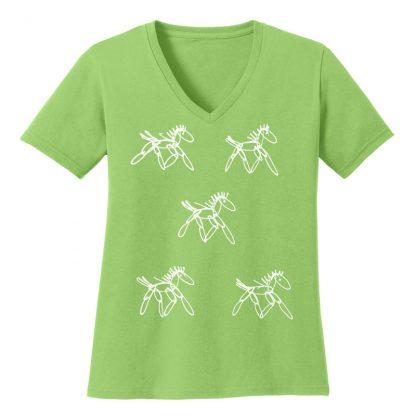 V-Neck-Tee-lime-running-horsesW