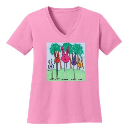 V-Neck-Tee-pink-bird-bunny-brigade