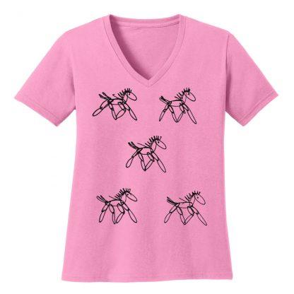 V-Neck-Tee-pink-running-horsesB