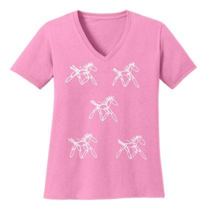 V-Neck-Tee-pink-running-horsesW