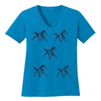 V-Neck-Tee-sapphire-running-horsesB