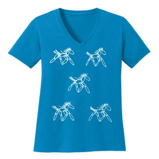 V-Neck-Tee-sapphire-running-horsesW