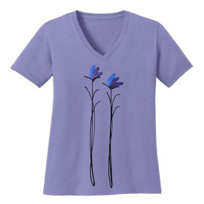 V-Neck-Tee-violet-purple-floral