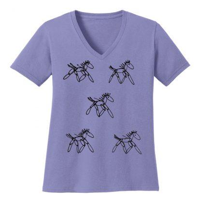 V-Neck-Tee-violet-running-horsesB