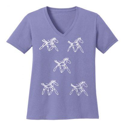 V-Neck-Tee-violet-running-horsesW
