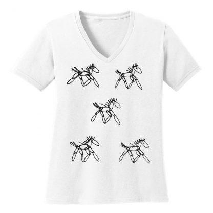 V-Neck-Tee-white-running-horsesB