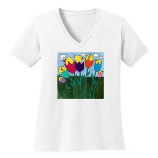 V-Neck-Tee-white-tulip-birds