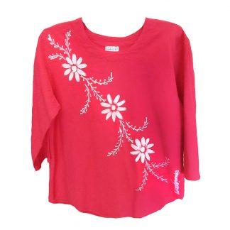 Ladies 3/4 Sleeve Crinkle Cotton Top