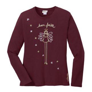 LS-Tee-burgundy-have-faith-angel